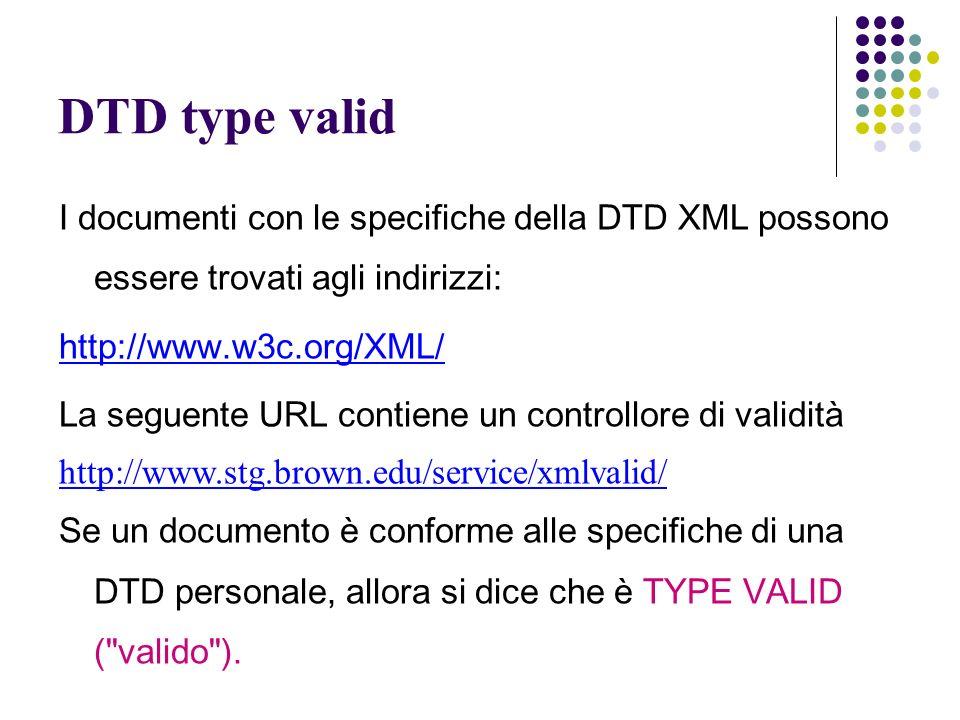 DTD type valid I documenti con le specifiche della DTD XML possono essere trovati agli indirizzi: http://www.w3c.org/XML/ La seguente URL contiene un controllore di validità http://www.stg.brown.edu/service/xmlvalid/ Se un documento è conforme alle specifiche di una DTD personale, allora si dice che è TYPE VALID ( valido ).