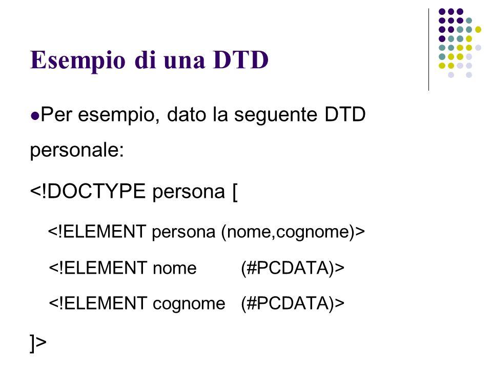 Esempio di una DTD Per esempio, dato la seguente DTD personale: <!DOCTYPE persona [ ]>