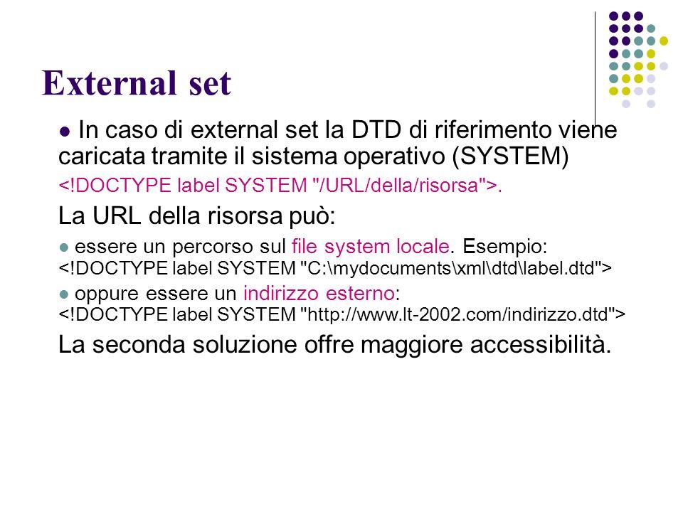 External set In caso di external set la DTD di riferimento viene caricata tramite il sistema operativo (SYSTEM).