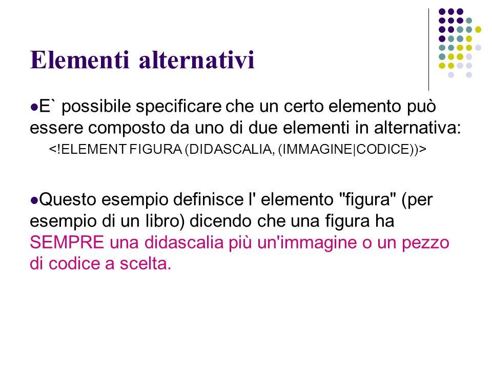 Elementi alternativi E` possibile specificare che un certo elemento può essere composto da uno di due elementi in alternativa: Questo esempio definisce l elemento figura (per esempio di un libro) dicendo che una figura ha SEMPRE una didascalia più un immagine o un pezzo di codice a scelta.