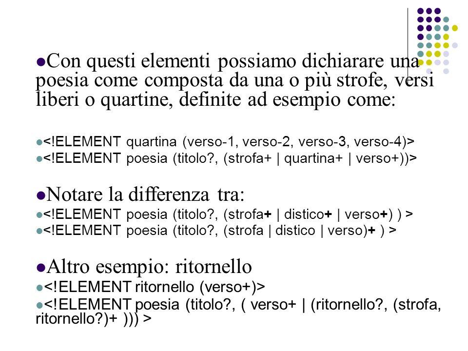 Con questi elementi possiamo dichiarare una poesia come composta da una o più strofe, versi liberi o quartine, definite ad esempio come: Notare la differenza tra: Altro esempio: ritornello