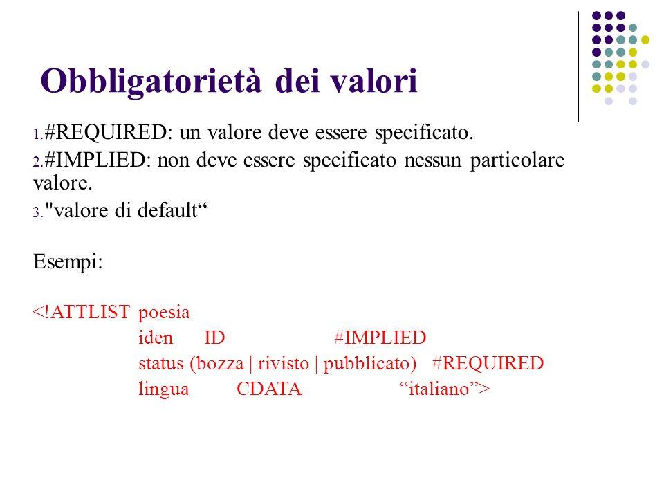 Obbligatorietà dei valori 1. #REQUIRED: un valore deve essere specificato.