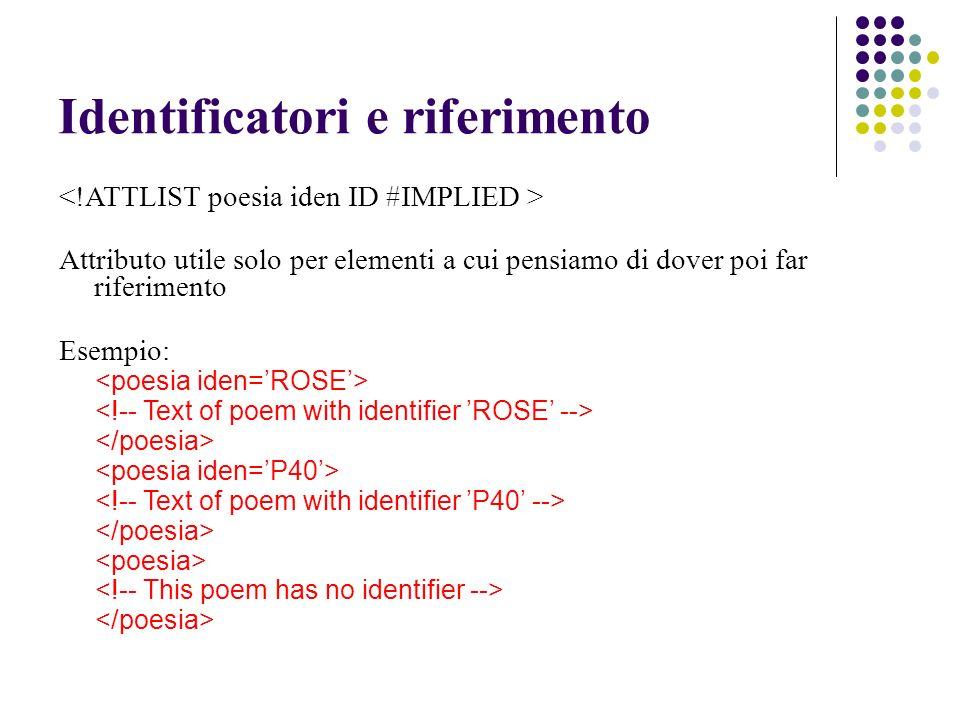Identificatori e riferimento Attributo utile solo per elementi a cui pensiamo di dover poi far riferimento Esempio: