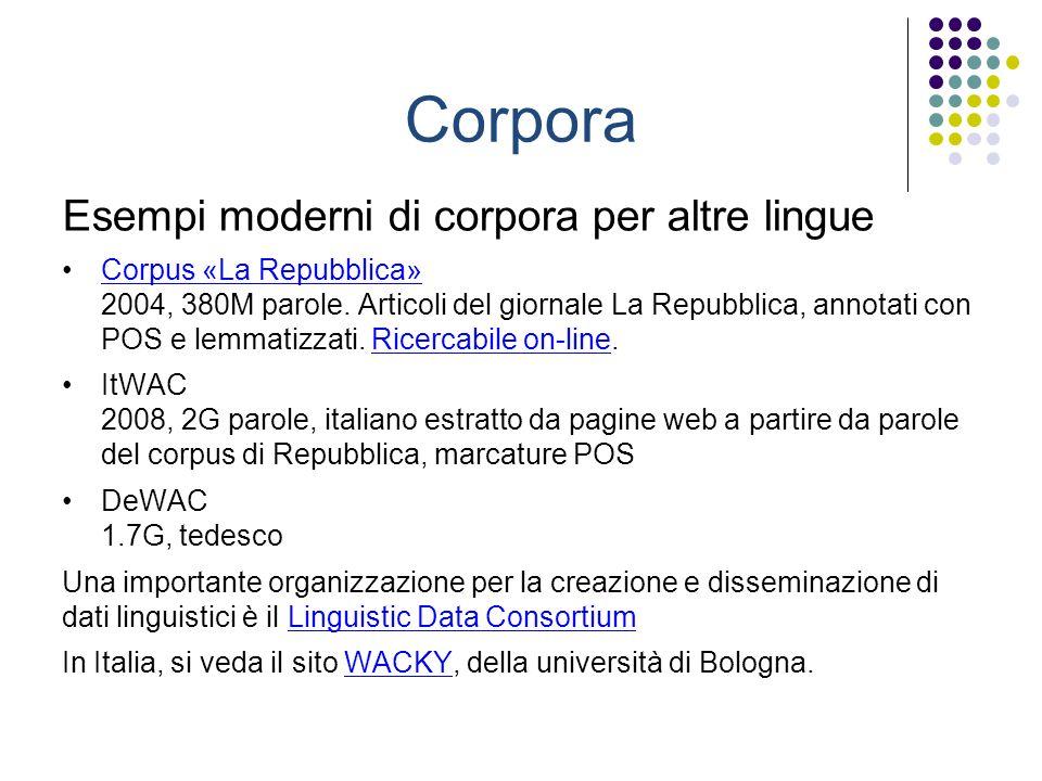 Corpora Esempi moderni di corpora per altre lingue Corpus «La Repubblica» 2004, 380M parole.