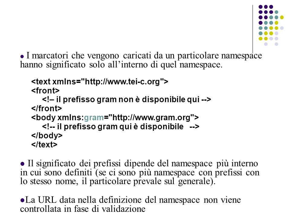 I marcatori che vengono caricati da un particolare namespace hanno significato solo allinterno di quel namespace.
