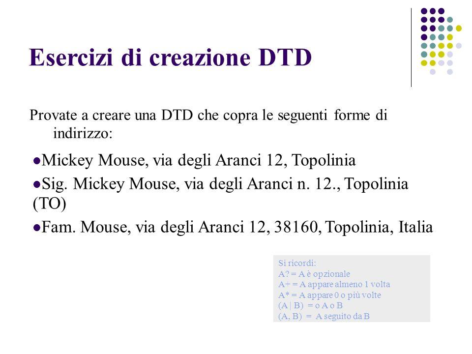 Esercizi di creazione DTD Mickey Mouse, via degli Aranci 12, Topolinia Sig.