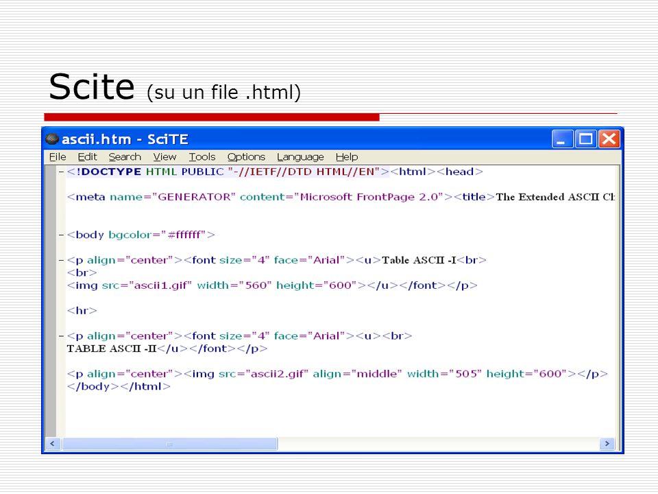 Scite (su un file.html)