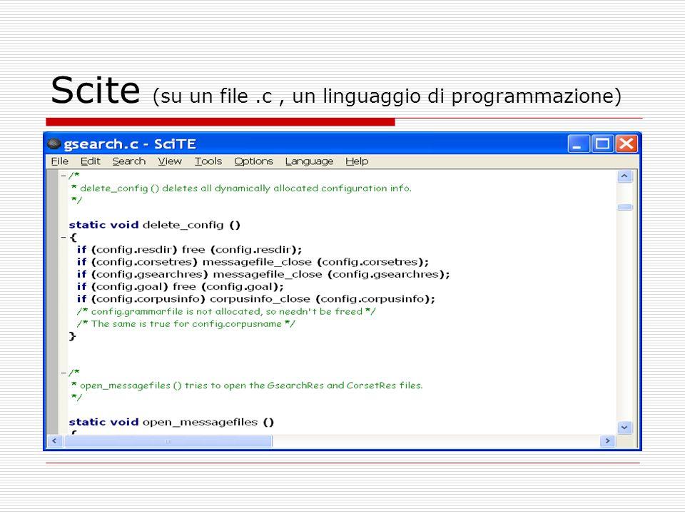 Scite (su un file.c, un linguaggio di programmazione)