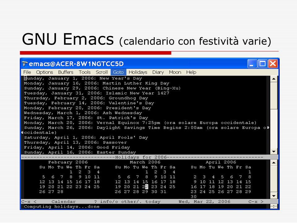 GNU Emacs (calendario con festività varie)