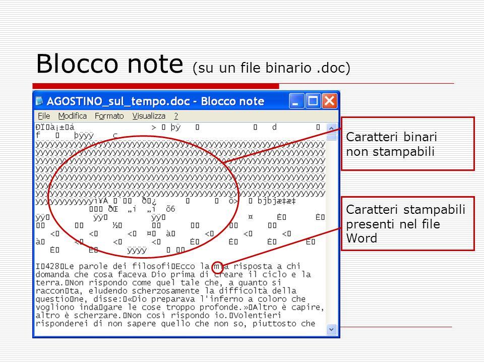 Blocco note (su un file binario.doc) Caratteri binari non stampabili Caratteri stampabili presenti nel file Word