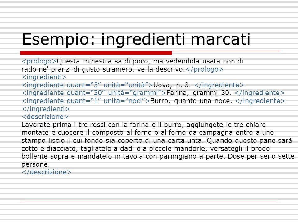 Esempio: ingredienti marcati Questa minestra sa di poco, ma vedendola usata non di rado ne pranzi di gusto straniero, ve la descrivo.
