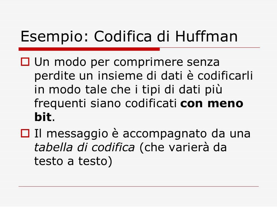 Esempio: Codifica di Huffman Un modo per comprimere senza perdite un insieme di dati è codificarli in modo tale che i tipi di dati più frequenti siano codificati con meno bit.