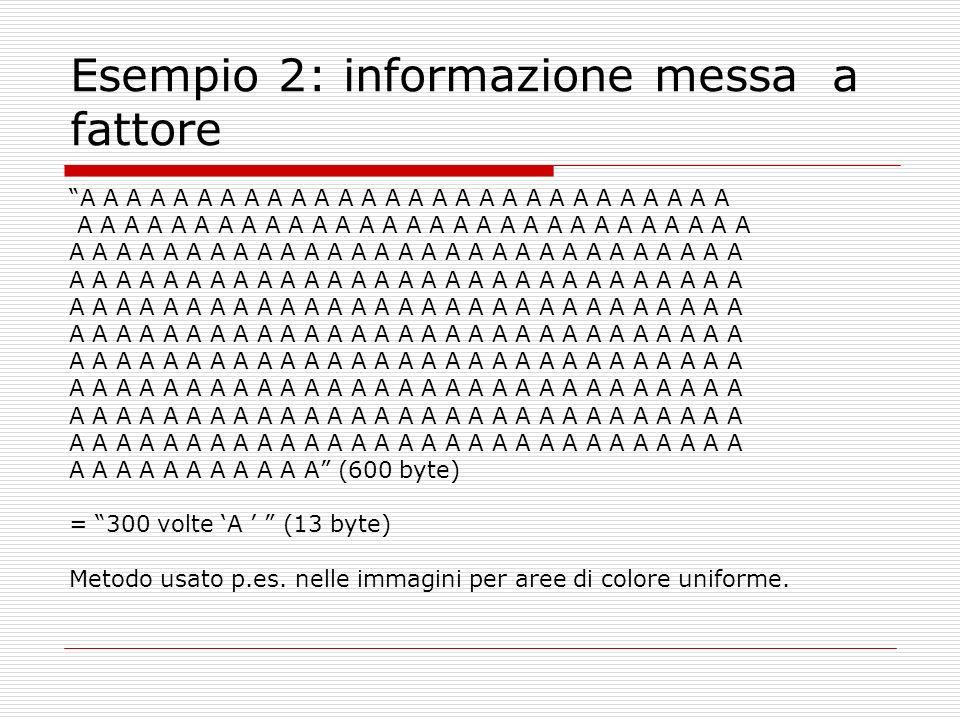 Esempio 2: informazione messa a fattore A A A A A A A A A A A A A A A A A A A A A A A A A A A A A A A A A A A A A A A A A A A A A A A A A A A A A A (600 byte) = 300 volte A (13 byte) Metodo usato p.es.