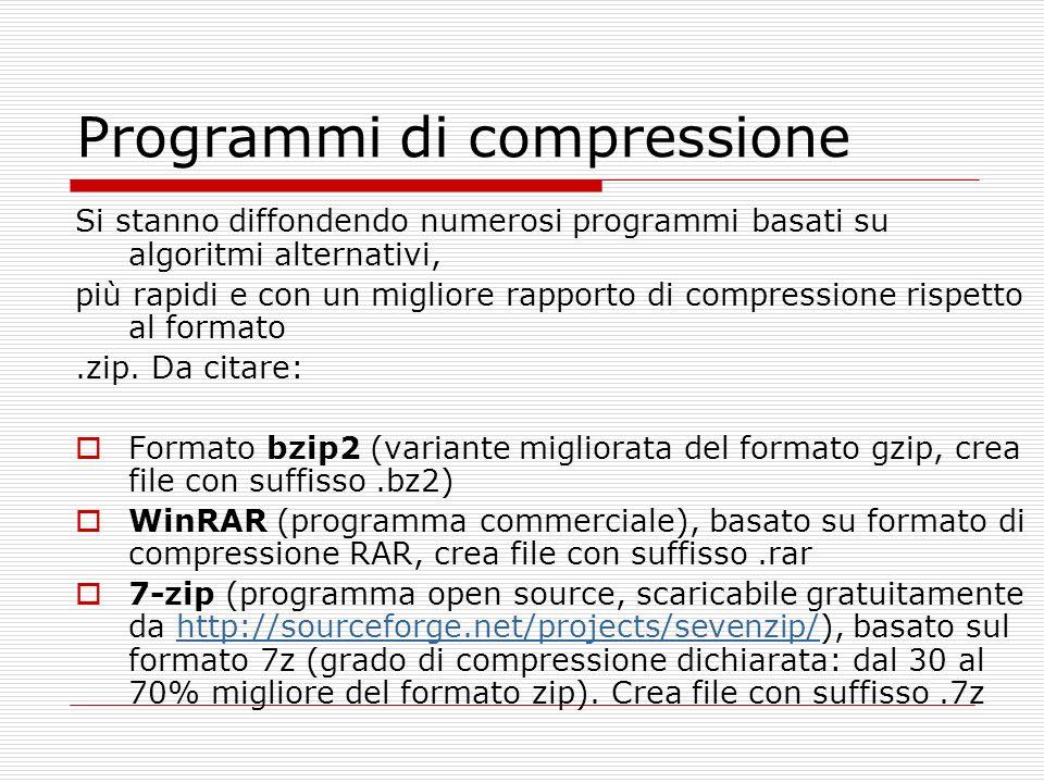 Programmi di compressione Si stanno diffondendo numerosi programmi basati su algoritmi alternativi, più rapidi e con un migliore rapporto di compressione rispetto al formato.zip.