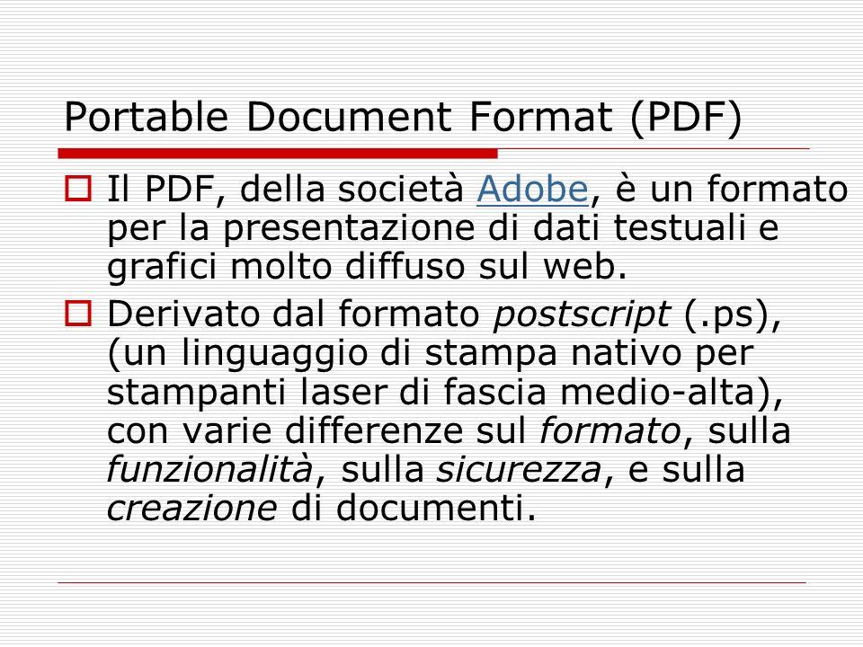 Portable Document Format (PDF) Il PDF, della società Adobe, è un formato per la presentazione di dati testuali e grafici molto diffuso sul web.Adobe D
