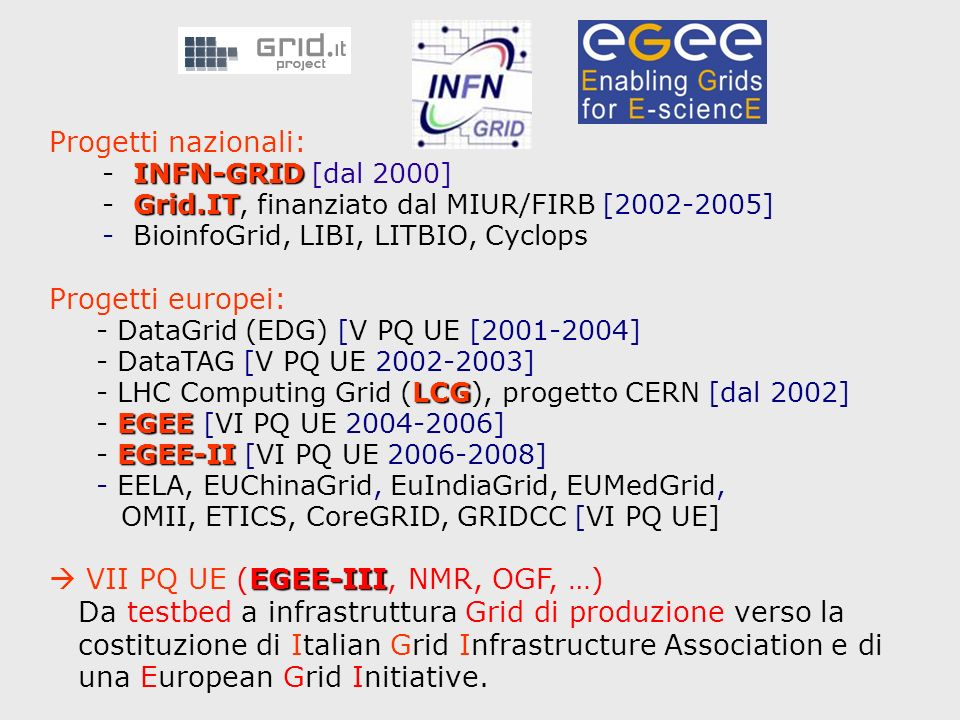Progetti nazionali: INFN-GRID - INFN-GRID [dal 2000] Grid.IT - Grid.IT, finanziato dal MIUR/FIRB [2002-2005] - BioinfoGrid, LIBI, LITBIO, Cyclops Progetti europei: - DataGrid (EDG) [V PQ UE [2001-2004] - DataTAG [V PQ UE 2002-2003] LCG - LHC Computing Grid (LCG), progetto CERN [dal 2002] EGEE - EGEE [VI PQ UE 2004-2006] EGEE-II - EGEE-II [VI PQ UE 2006-2008] - EELA, EUChinaGrid, EuIndiaGrid, EUMedGrid, OMII, ETICS, CoreGRID, GRIDCC [VI PQ UE] EGEE-III VII PQ UE (EGEE-III, NMR, OGF, …) Da testbed a infrastruttura Grid di produzione verso la costituzione di Italian Grid Infrastructure Association e di una European Grid Initiative.