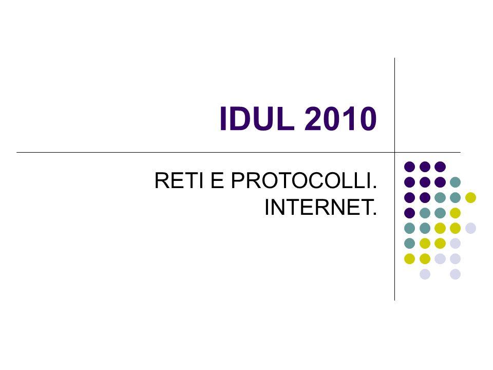 IDEE PRINCIPALI IN QUESTA LEZIONE Reti: Aspetto logico della rete e tipologie: peer-to-peer, a hub, a bus Trasmissione dei dati: commutazione di pacchetto (Packet- switching) Protocolli Internet e TCP/IP Application level: Client / server Email Web