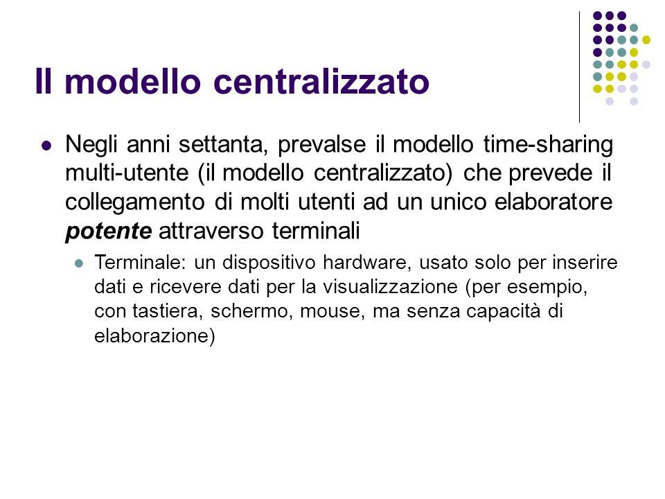 Il modello centralizzato Negli anni settanta, prevalse il modello time-sharing multi-utente (il modello centralizzato) che prevede il collegamento di molti utenti ad un unico elaboratore potente attraverso terminali Terminale: un dispositivo hardware, usato solo per inserire dati e ricevere dati per la visualizzazione (per esempio, con tastiera, schermo, mouse, ma senza capacità di elaborazione)