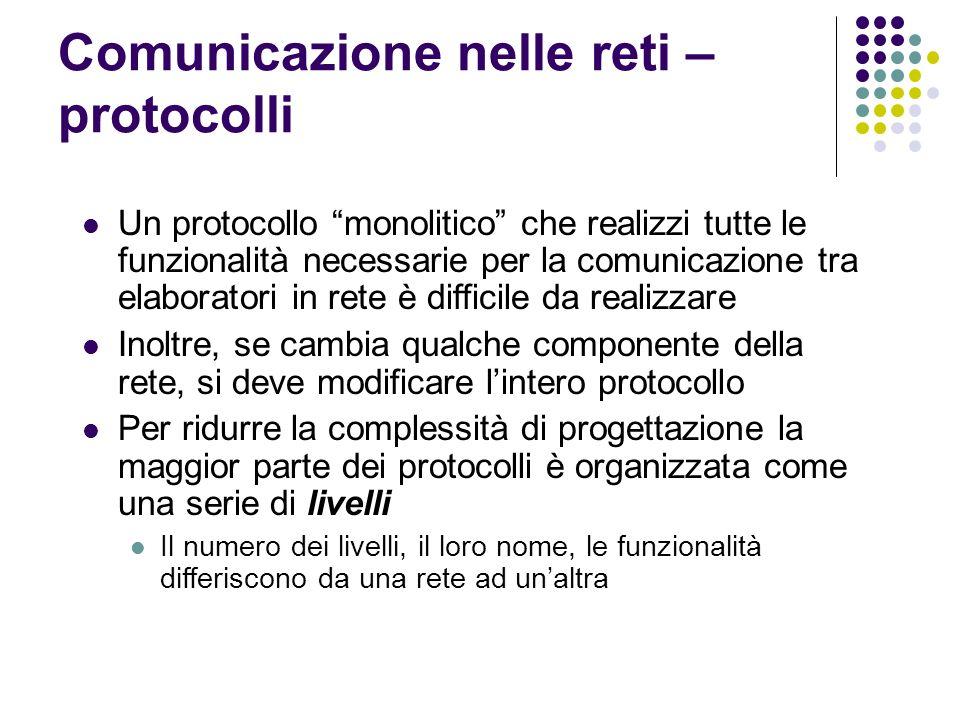 Comunicazione nelle reti – protocolli Un protocollo monolitico che realizzi tutte le funzionalità necessarie per la comunicazione tra elaboratori in r
