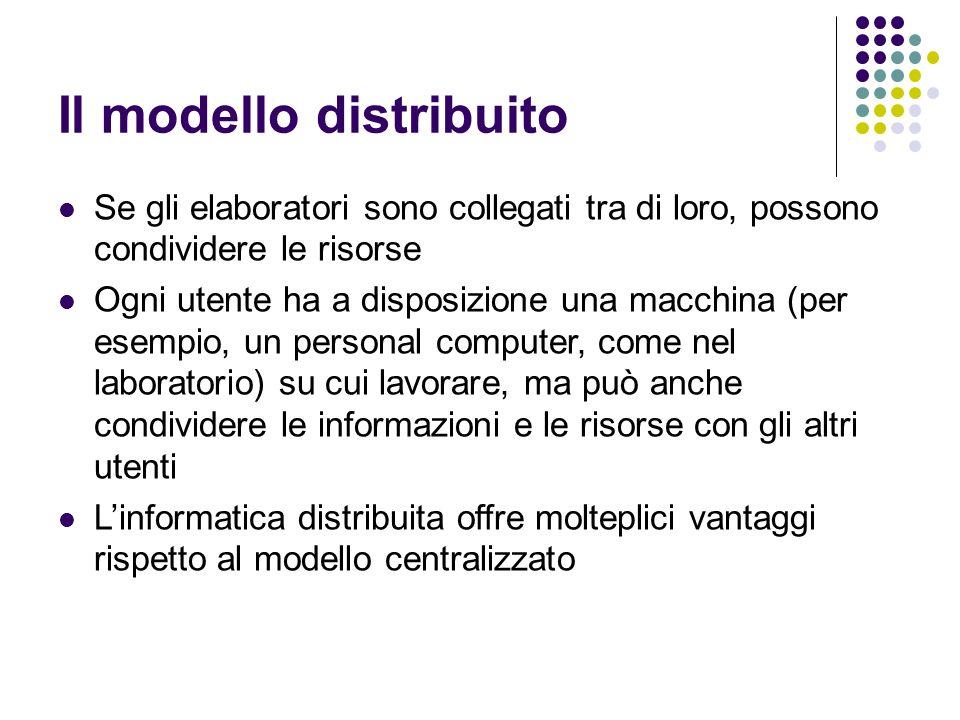 Il modello distribuito Se gli elaboratori sono collegati tra di loro, possono condividere le risorse Ogni utente ha a disposizione una macchina (per esempio, un personal computer, come nel laboratorio) su cui lavorare, ma può anche condividere le informazioni e le risorse con gli altri utenti Linformatica distribuita offre molteplici vantaggi rispetto al modello centralizzato