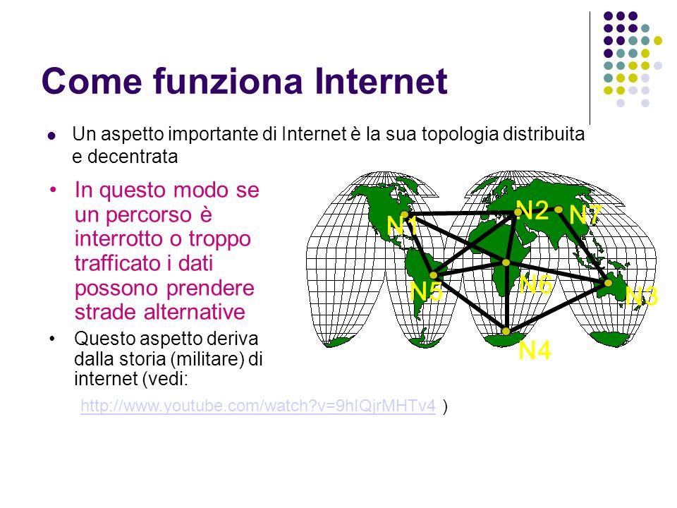 Come funziona Internet Un aspetto importante di Internet è la sua topologia distribuita e decentrata N7 N3 N4 N5 N6 N2 N1 In questo modo se un percorso è interrotto o troppo trafficato i dati possono prendere strade alternative Questo aspetto deriva dalla storia (militare) di internet (vedi: http://www.youtube.com/watch v=9hIQjrMHTv4http://www.youtube.com/watch v=9hIQjrMHTv4 )