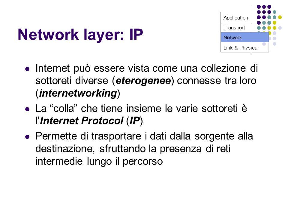 Network layer: IP Internet può essere vista come una collezione di sottoreti diverse (eterogenee) connesse tra loro (internetworking) La colla che tiene insieme le varie sottoreti è lInternet Protocol (IP) Permette di trasportare i dati dalla sorgente alla destinazione, sfruttando la presenza di reti intermedie lungo il percorso Application Transport Network Link & Physical