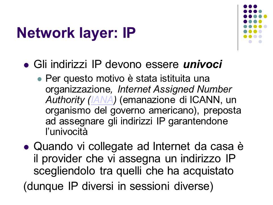 Network layer: IP Gli indirizzi IP devono essere univoci Per questo motivo è stata istituita una organizzazione, Internet Assigned Number Authority (I