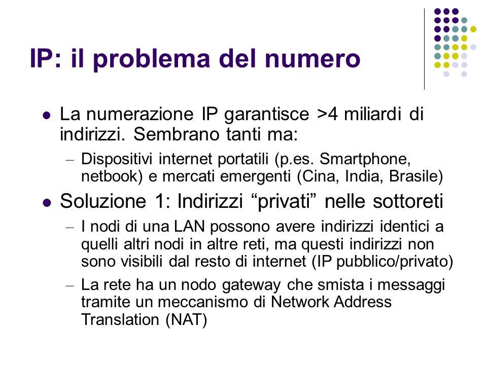 IP: il problema del numero La numerazione IP garantisce >4 miliardi di indirizzi. Sembrano tanti ma: – Dispositivi internet portatili (p.es. Smartphon
