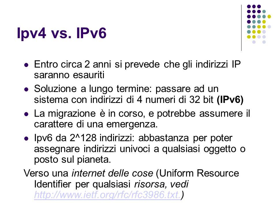 Ipv4 vs. IPv6 Entro circa 2 anni si prevede che gli indirizzi IP saranno esauriti Soluzione a lungo termine: passare ad un sistema con indirizzi di 4