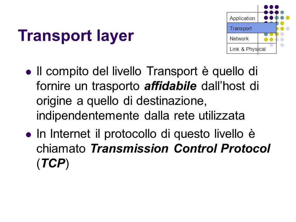 Transport layer Il compito del livello Transport è quello di fornire un trasporto affidabile dallhost di origine a quello di destinazione, indipendentemente dalla rete utilizzata In Internet il protocollo di questo livello è chiamato Transmission Control Protocol (TCP) Application Transport Network Link & Physical