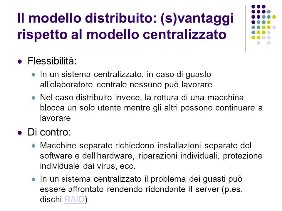 Il modello distribuito: (s)vantaggi rispetto al modello centralizzato Economicità: In termini di costi, la diffusione dei PC personali è stata la spinta che ha portato alla produzione di massa e quindi al crollo del costo dellhardware.