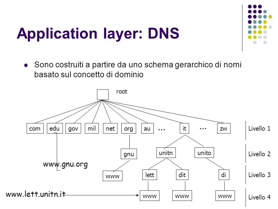 Application layer: DNS Sono costruiti a partire da uno schema gerarchico di nomi basato sul concetto di dominio gnu comedugovmilnetorgauitzw unitnunito lettdit www di www … … www.gnu.org www.lett.unitn.it root Livello 1 Livello 2 Livello 3 Livello 4