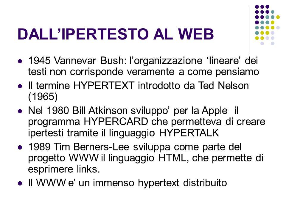 DALLIPERTESTO AL WEB 1945 Vannevar Bush: lorganizzazione lineare dei testi non corrisponde veramente a come pensiamo Il termine HYPERTEXT introdotto d