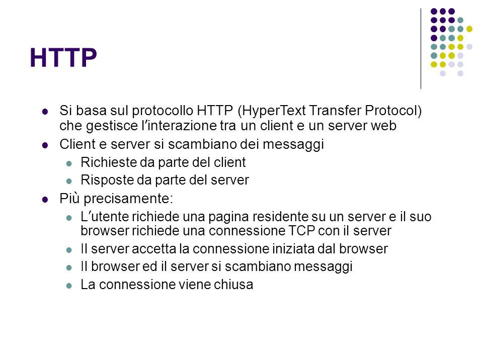 HTTP Si basa sul protocollo HTTP (HyperText Transfer Protocol) che gestisce l interazione tra un client e un server web Client e server si scambiano d
