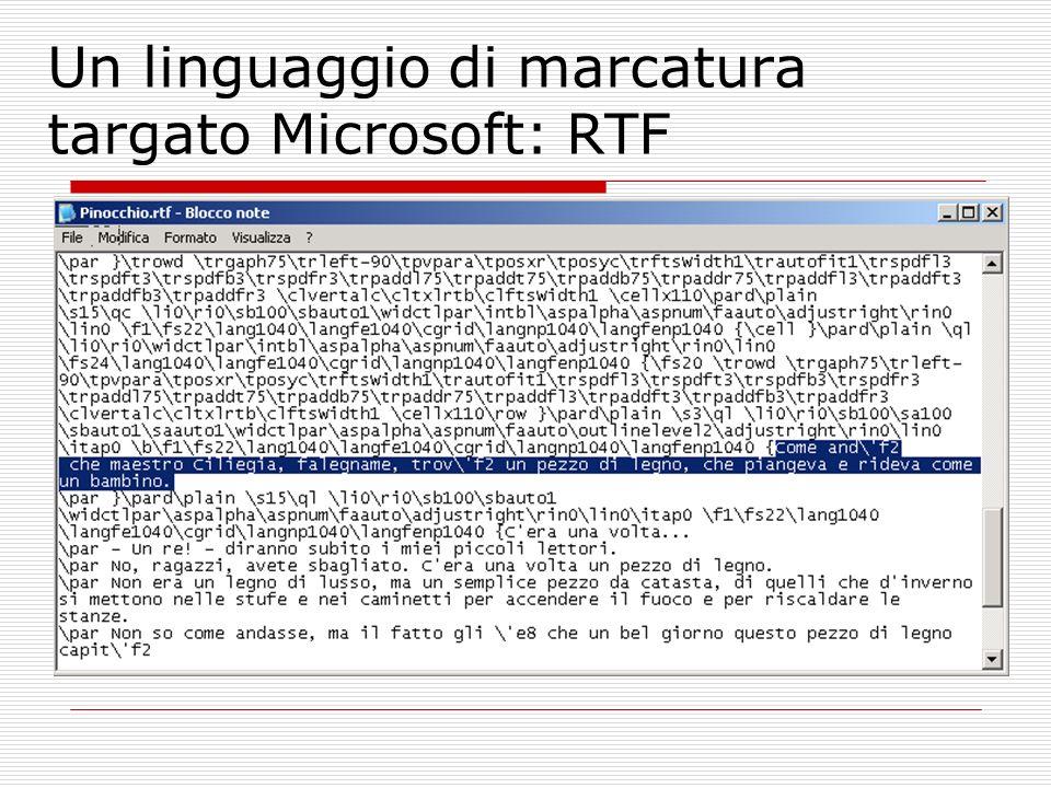 Un linguaggio di marcatura targato Microsoft: RTF