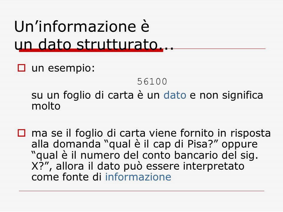 Uninformazione è un dato strutturato...