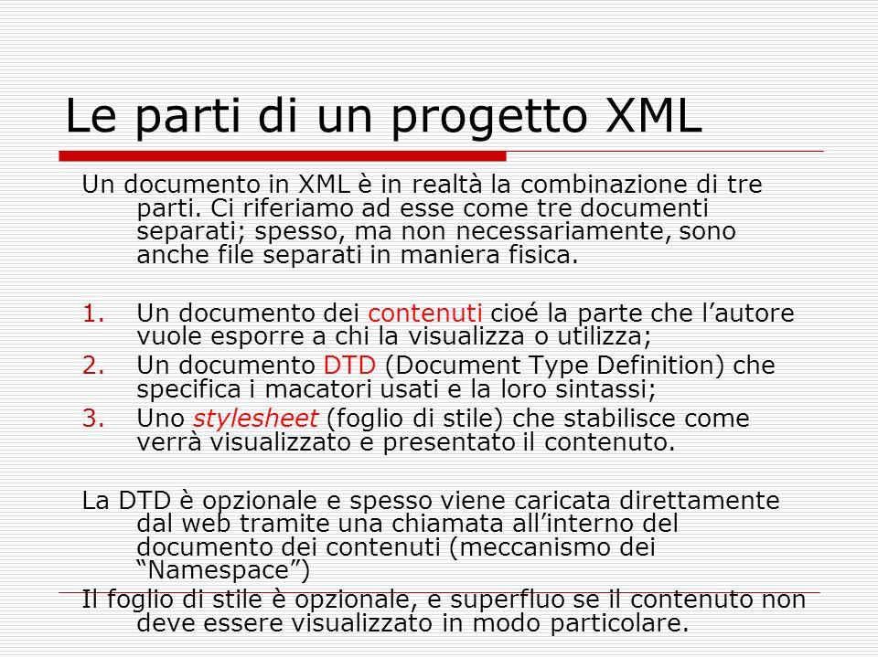 Le parti di un progetto XML Un documento in XML è in realtà la combinazione di tre parti. Ci riferiamo ad esse come tre documenti separati; spesso, ma