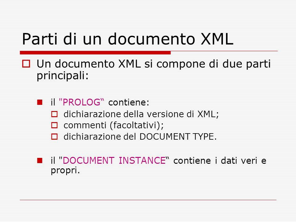 Parti di un documento XML Un documento XML si compone di due parti principali: il