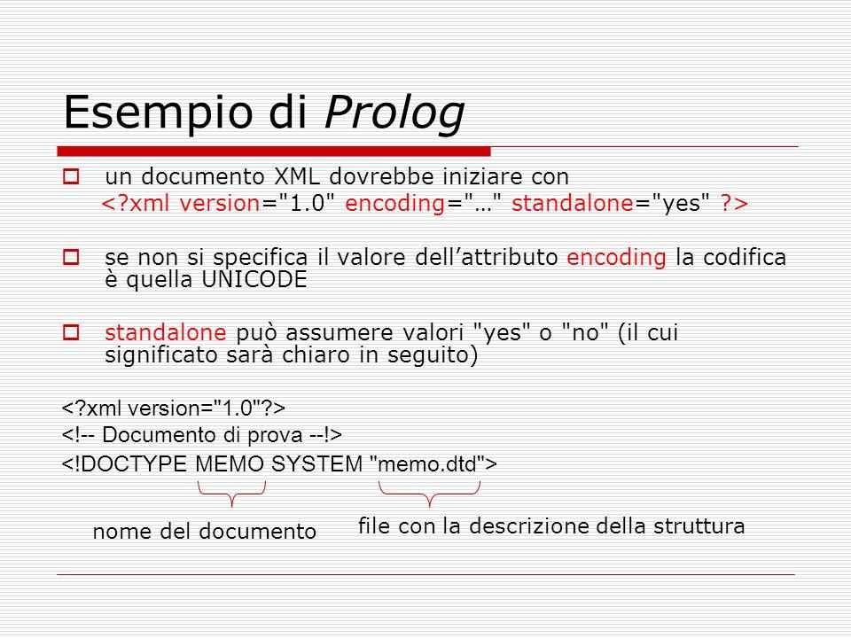 Esempio di Prolog un documento XML dovrebbe iniziare con se non si specifica il valore dellattributo encoding la codifica è quella UNICODE standalone