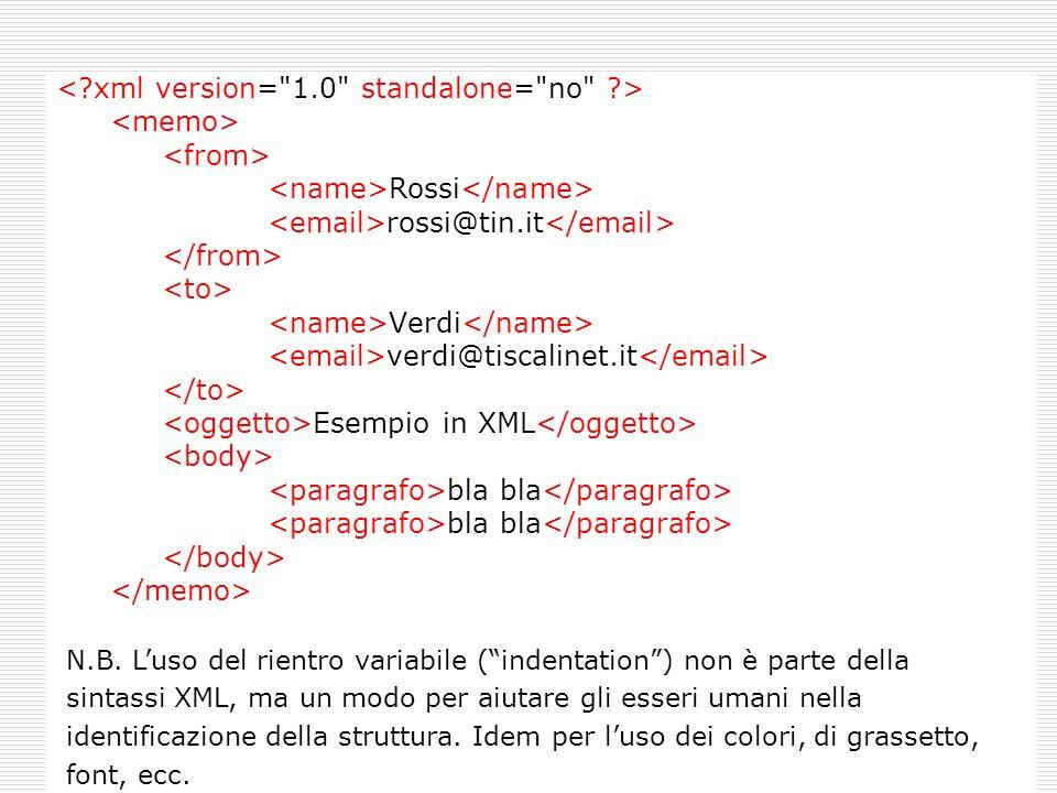 Rossi rossi@tin.it Verdi verdi@tiscalinet.it Esempio in XML bla bla N.B. Luso del rientro variabile (indentation) non è parte della sintassi XML, ma u