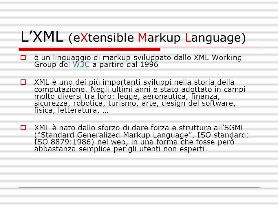 LXML (eXtensible Markup Language) è un linguaggio di markup sviluppato dallo XML Working Group del W3C a partire dal 1996W3C XML è uno dei più importa