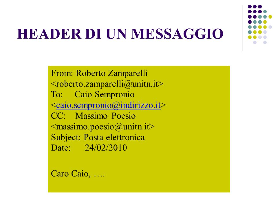 HEADER DI UN MESSAGGIO From: Roberto Zamparelli To: Caio Sempronio CC: Massimo Poesio Subject: Posta elettronica Date: Caro Caio, ….