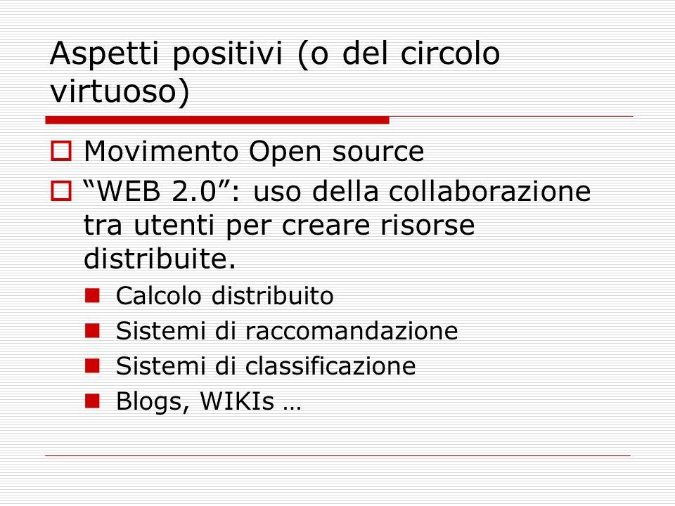 Aspetti positivi (o del circolo virtuoso) Movimento Open source WEB 2.0: uso della collaborazione tra utenti per creare risorse distribuite.