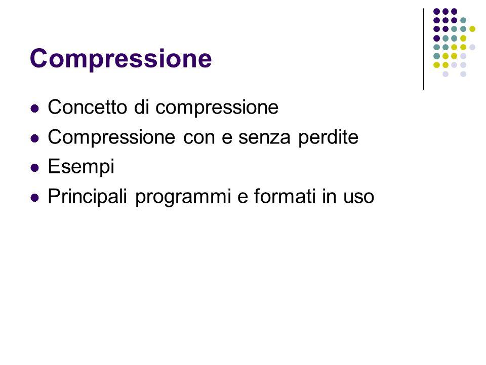 Compressione Concetto di compressione Compressione con e senza perdite Esempi Principali programmi e formati in uso