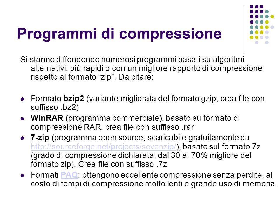 Programmi di compressione Si stanno diffondendo numerosi programmi basati su algoritmi alternativi, più rapidi o con un migliore rapporto di compressione rispetto al formato zip.