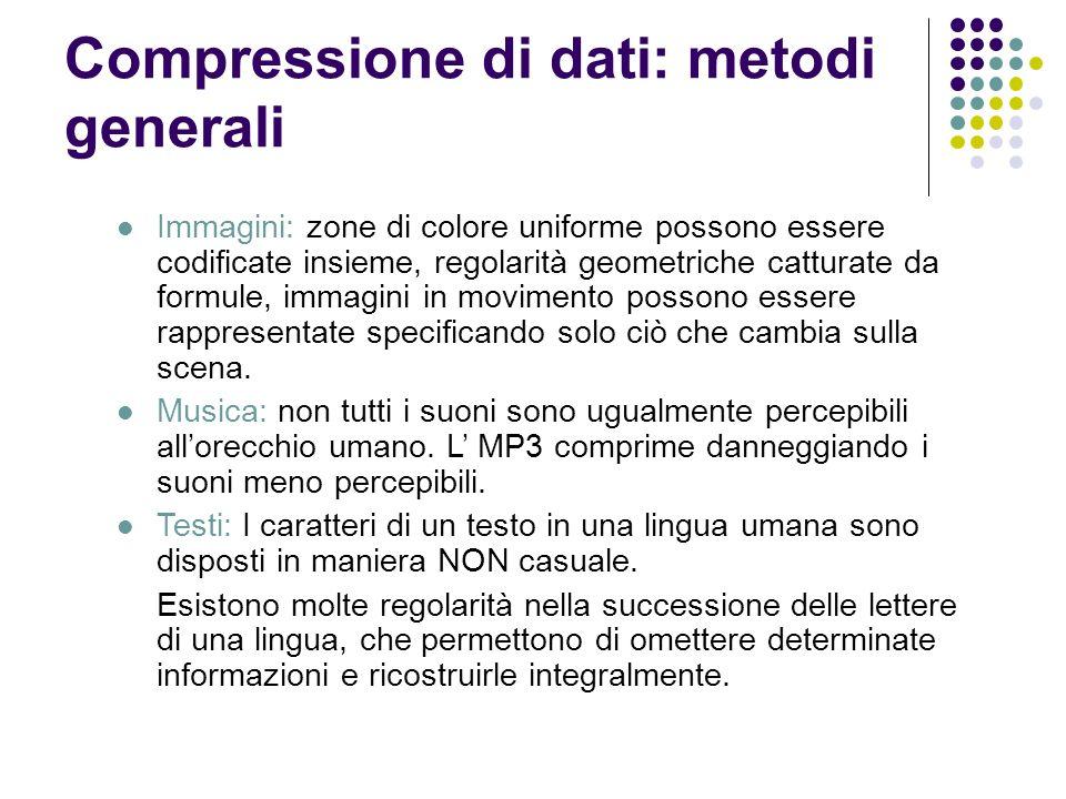 Compressione di dati: metodi generali Immagini: zone di colore uniforme possono essere codificate insieme, regolarità geometriche catturate da formule
