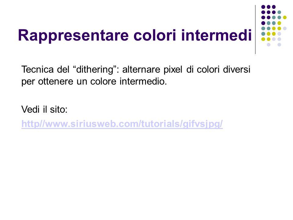 Tecnica del dithering: alternare pixel di colori diversi per ottenere un colore intermedio.