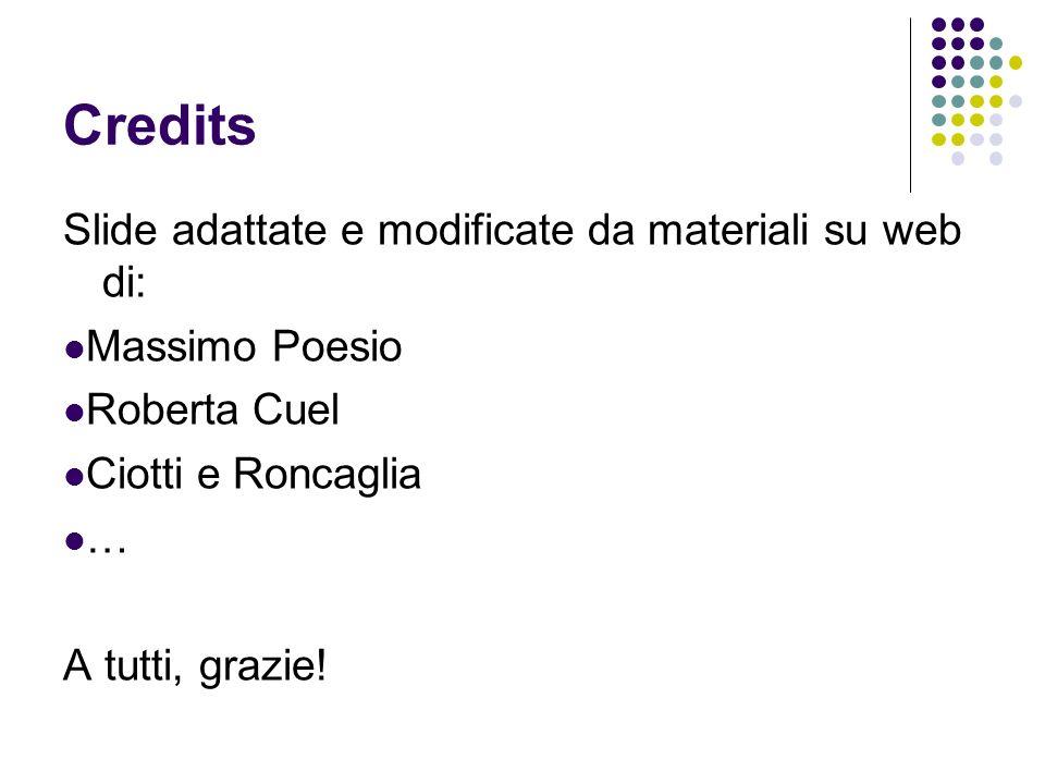 Credits Slide adattate e modificate da materiali su web di: Massimo Poesio Roberta Cuel Ciotti e Roncaglia … A tutti, grazie!
