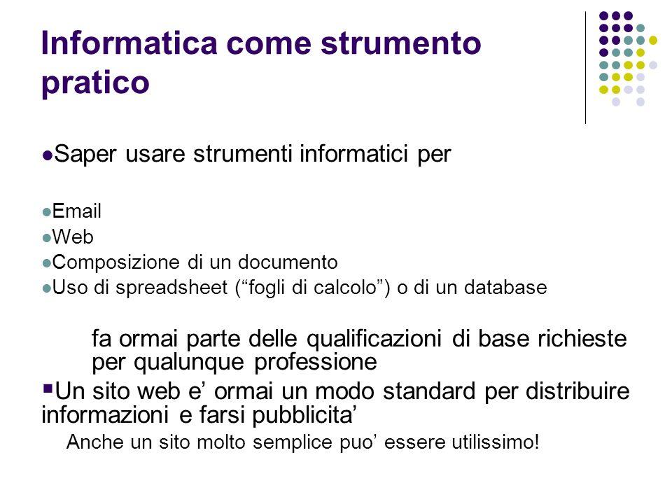 Informatica come strumento pratico Saper usare strumenti informatici per Email Web Composizione di un documento Uso di spreadsheet (fogli di calcolo)
