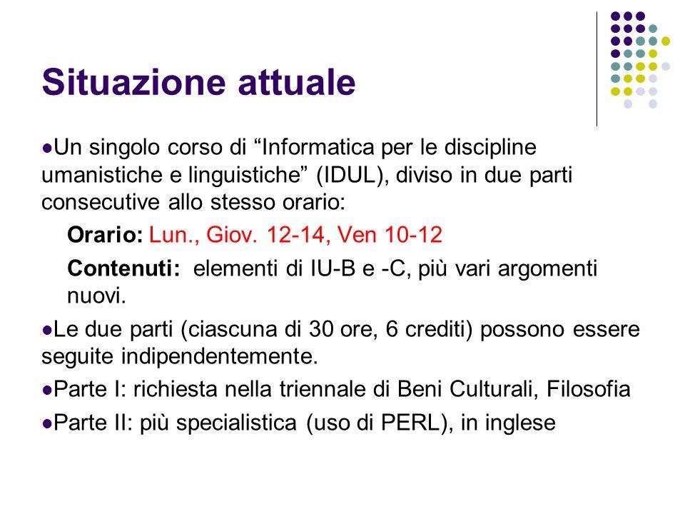 Situazione attuale Un singolo corso di Informatica per le discipline umanistiche e linguistiche (IDUL), diviso in due parti consecutive allo stesso or